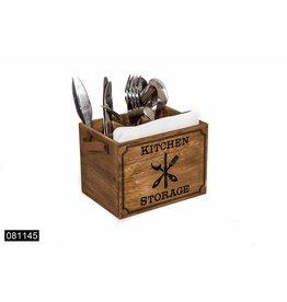 Bestekbakje hout 'kitchen storage' met leren greep. 17x12.5x12.5cm