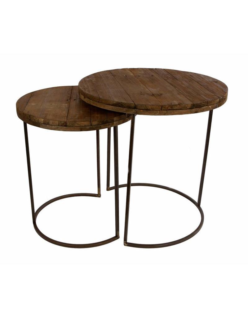 Side Table Donker Hout.Tafel Donker Hout Setje Van 2