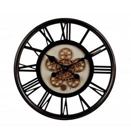 Wandklok open uurwerk zwart 54.5x7xm