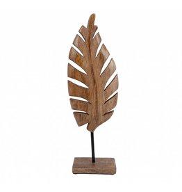 Decoratie blad op voet hoogte 39 cm