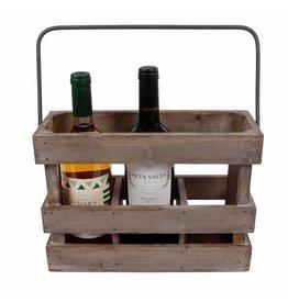 Wijnkrat hout 3-delig hoogte 22 cm