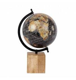 Wereldbol hout/metaal blok zwart