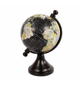 Wereldbol mini zwart 7,5x12 cm