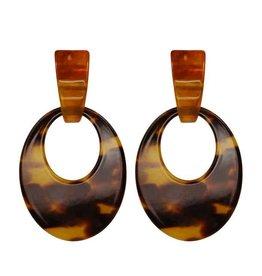 My Jewellery My Jewellery Oorbellen Bruin Resin Oval Hoops