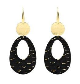 My Jewellery My Jewellery Oorbellen Zwart Leren