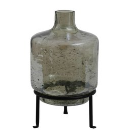 PTMD PTMD Cate green Glass vase bottle shape on Iron stand L