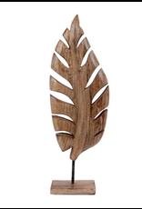 Decoratie blad op voet 48x17x7 cm