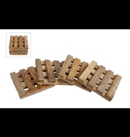 Onderzetters mango 'blok'-pallet 4 stuks 10x10 cm