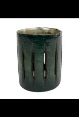 Cilinder glas 'open gleuven' M dia9x11cm mat petrol