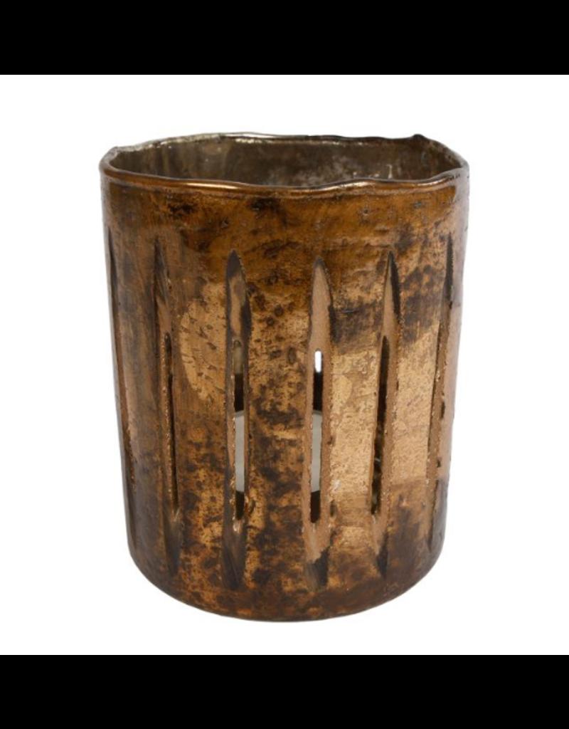 Sfeerlicht cilinder glas 'open gleuven' L dia11x13cm roest
