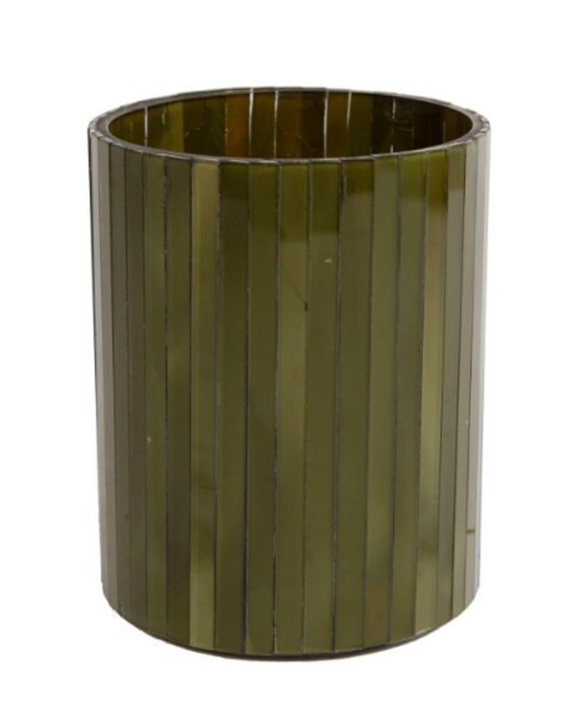Sfeerlicht verticaal glas cilinder L dia10,5x13cm d.groen