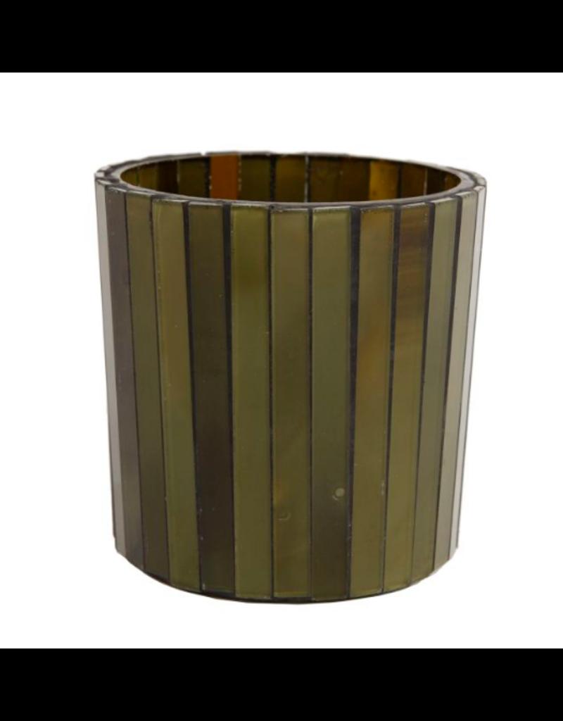 Sfeerlicht verticaal glas cilinder S dia8x8 cm d.groen