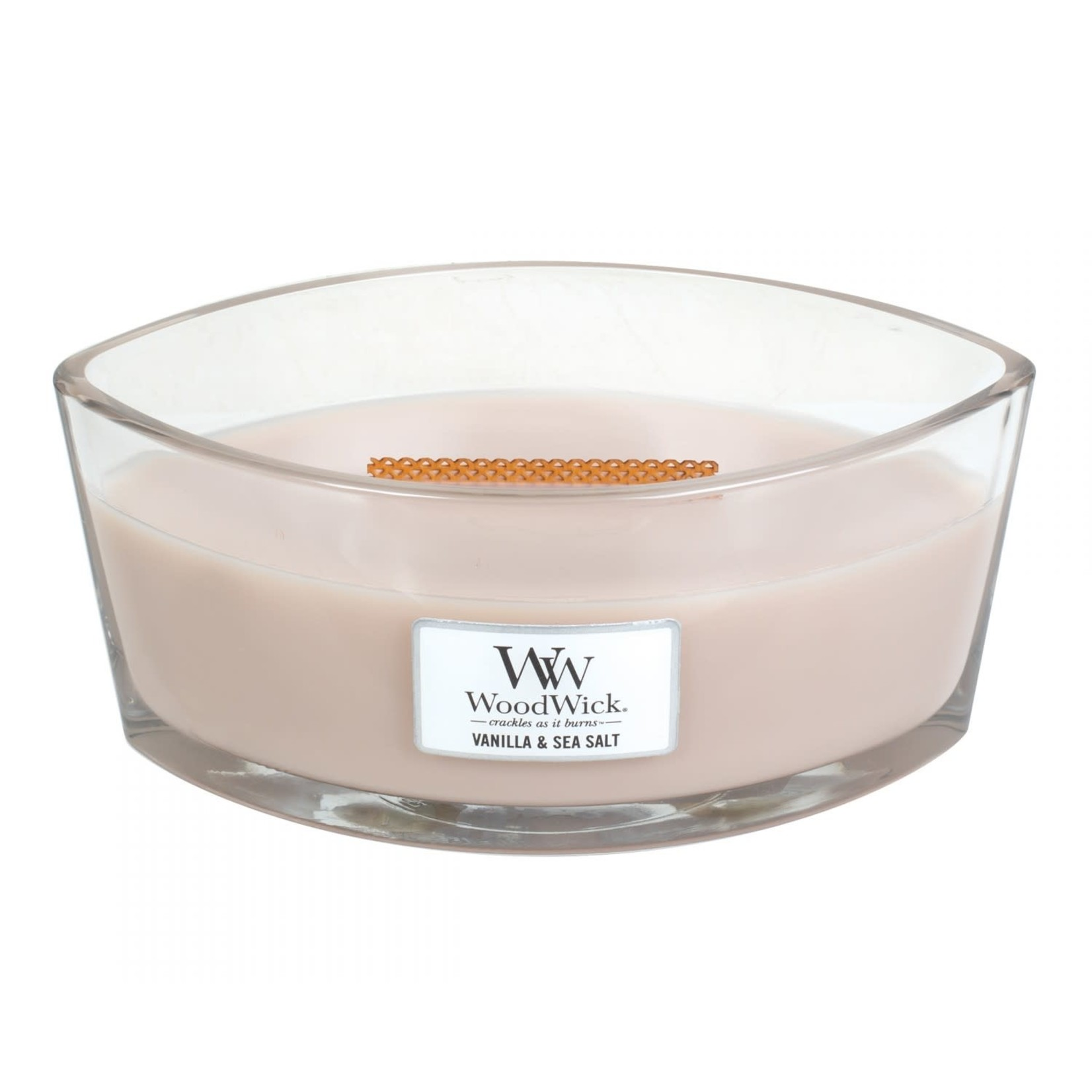 Woodwick Woodwick Vanilla & Sea Salt ellipse heartwick candle