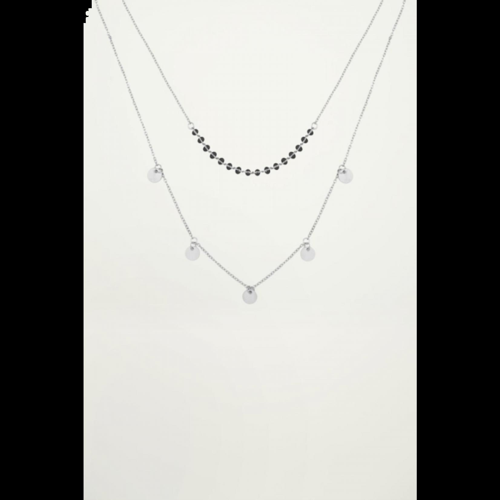 My Jewellery My Jewellery dubbele Ketting muntjes en kralen Zilver