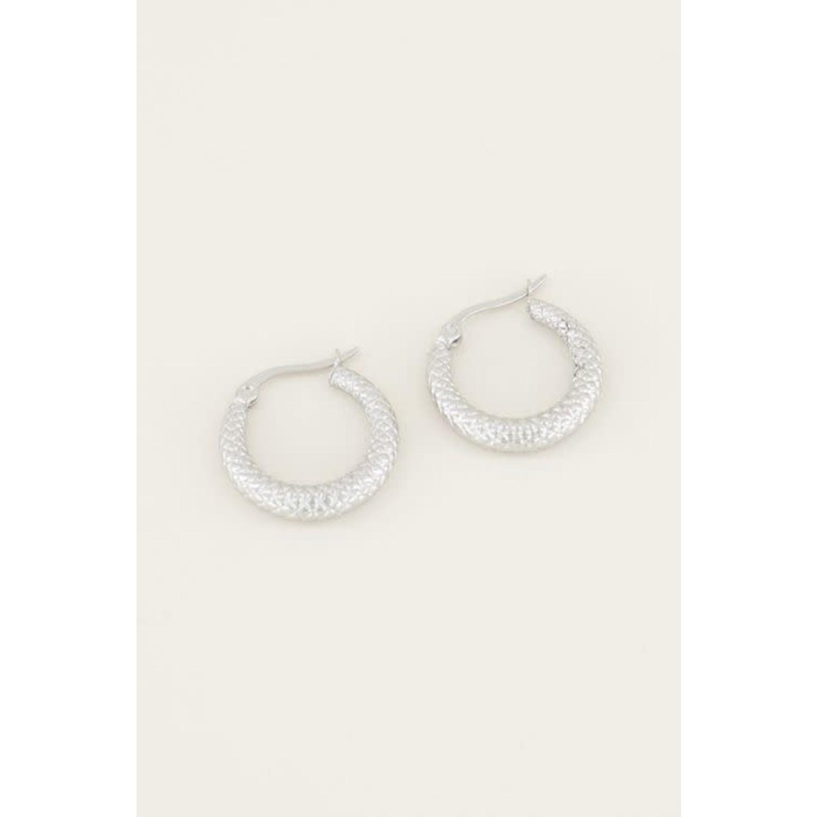 My Jewellery My Jewellery Oorringen met geruit patroon Zilver