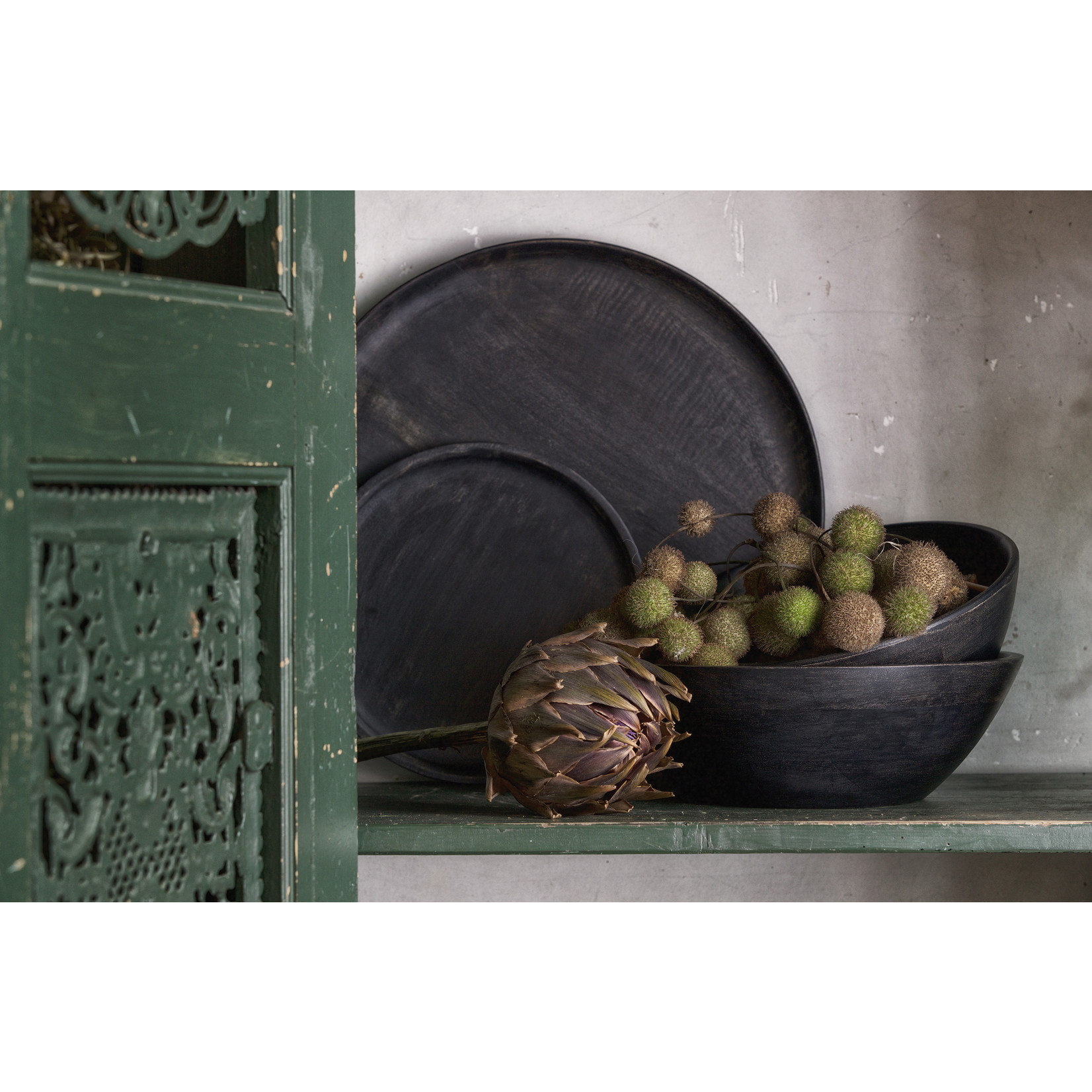 Be Pure Home Drum Schaal L Hout Donker Bruin*
