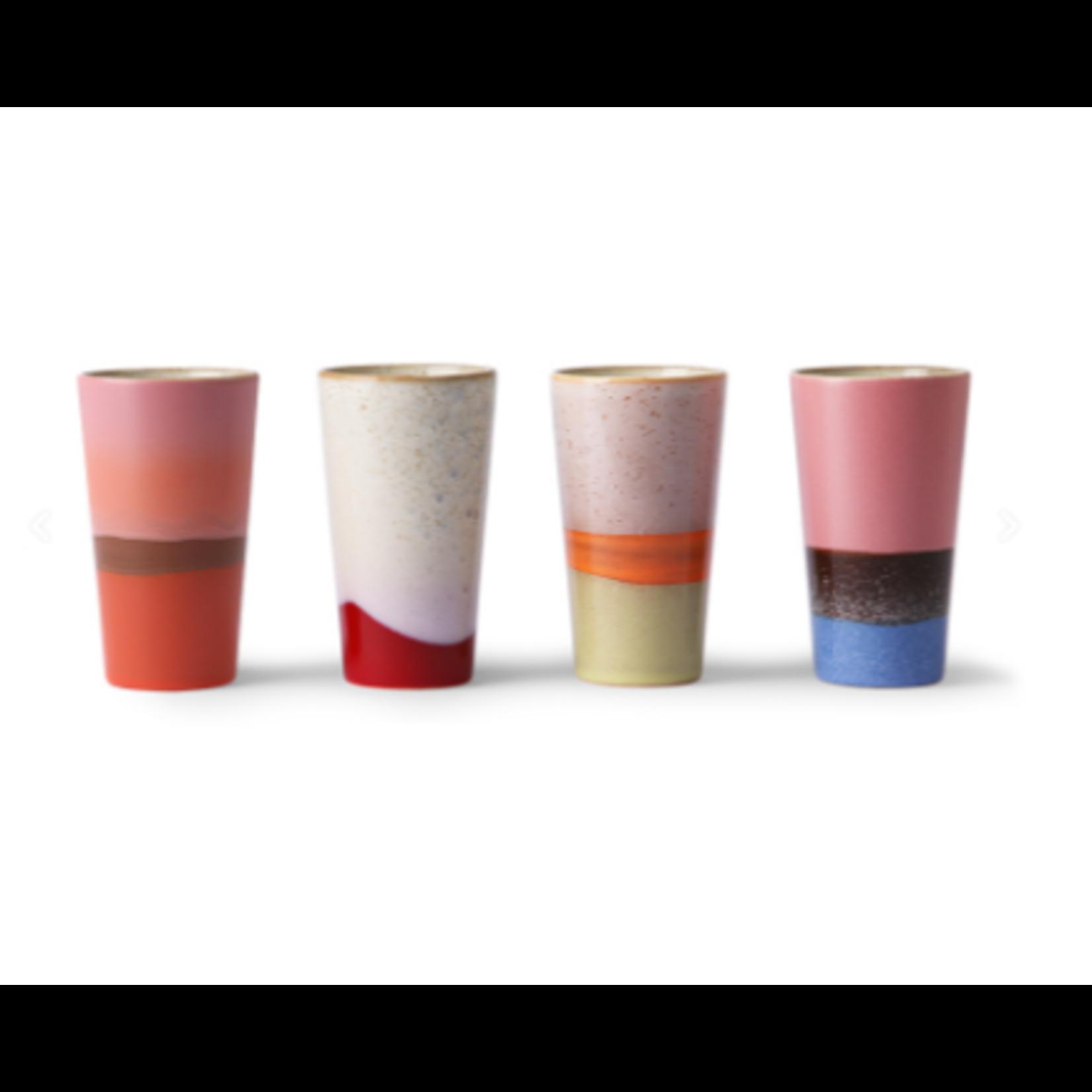 HK Living HK Living Ceramic 70's Latte Mugs set van 4
