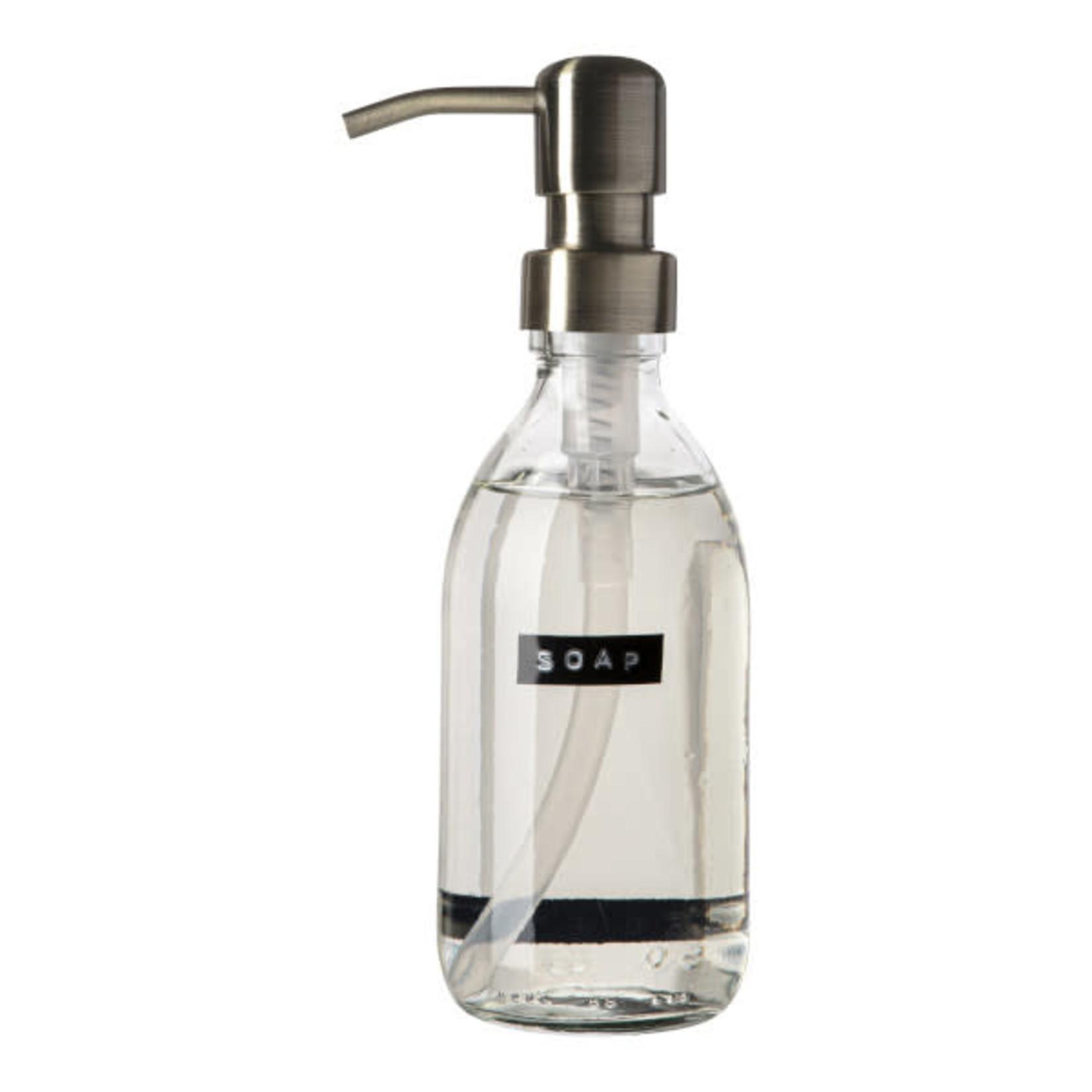 WELLmark WELLmark Zeeppomp helder glas - messing - 250ml handzeep frisse linnen 'Soap'