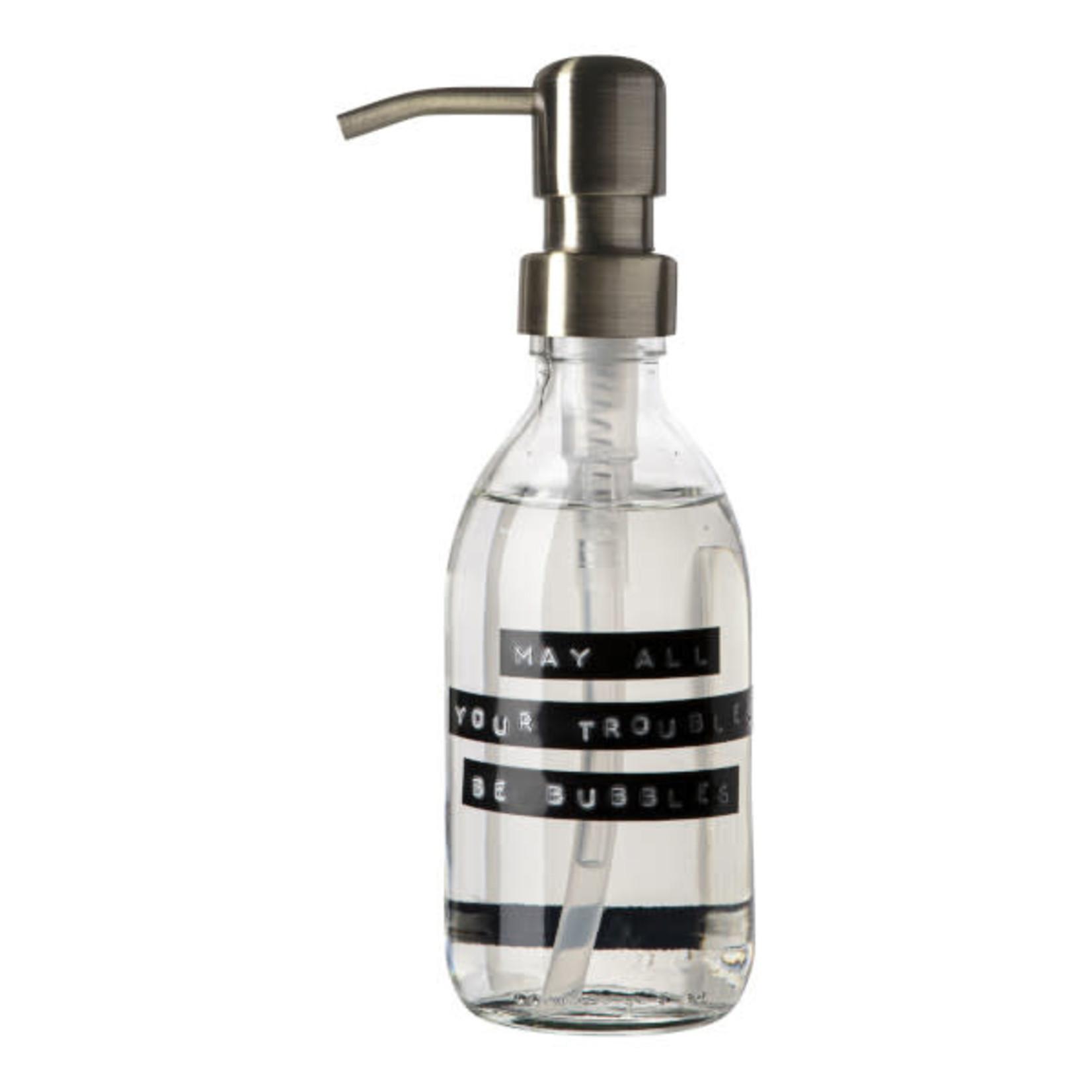 WELLmark WELLmark Zeeppomp helder glas - messing - 250ml handzeep frisse linnen 'May all your troubles be bubbles'
