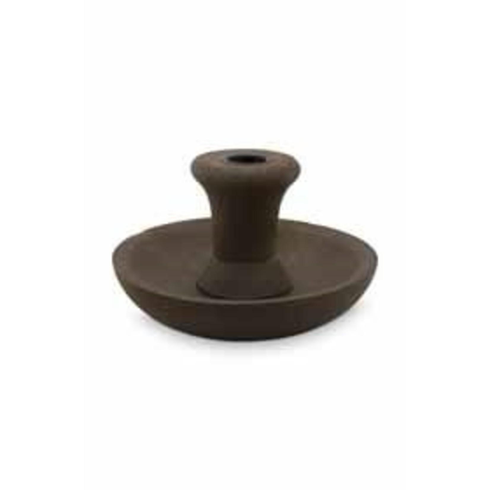 vtwonen Candle Holder Round Brown with Black Cup 16cm