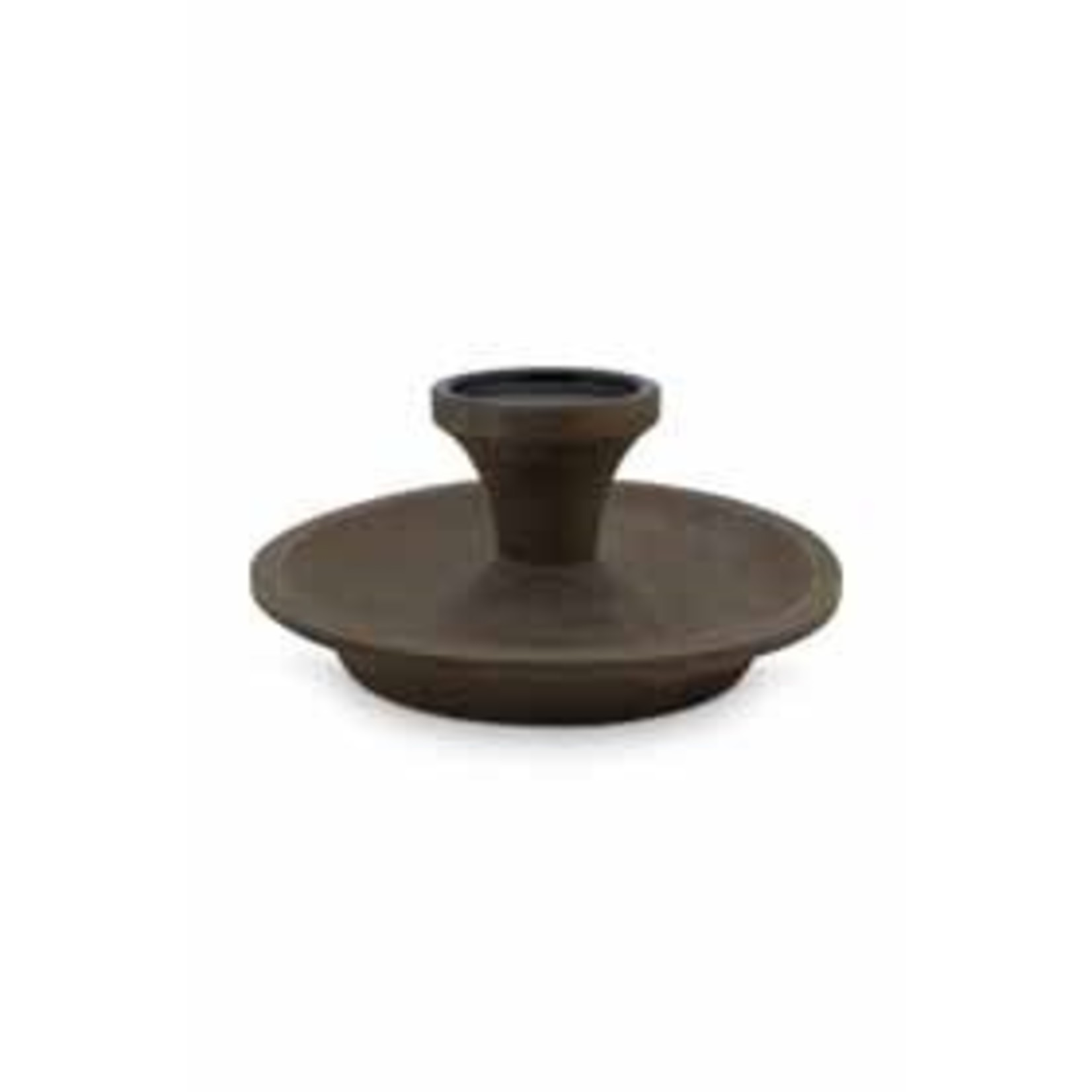 vtwonen Candle Holder Round Brown with Black Cup 23cm
