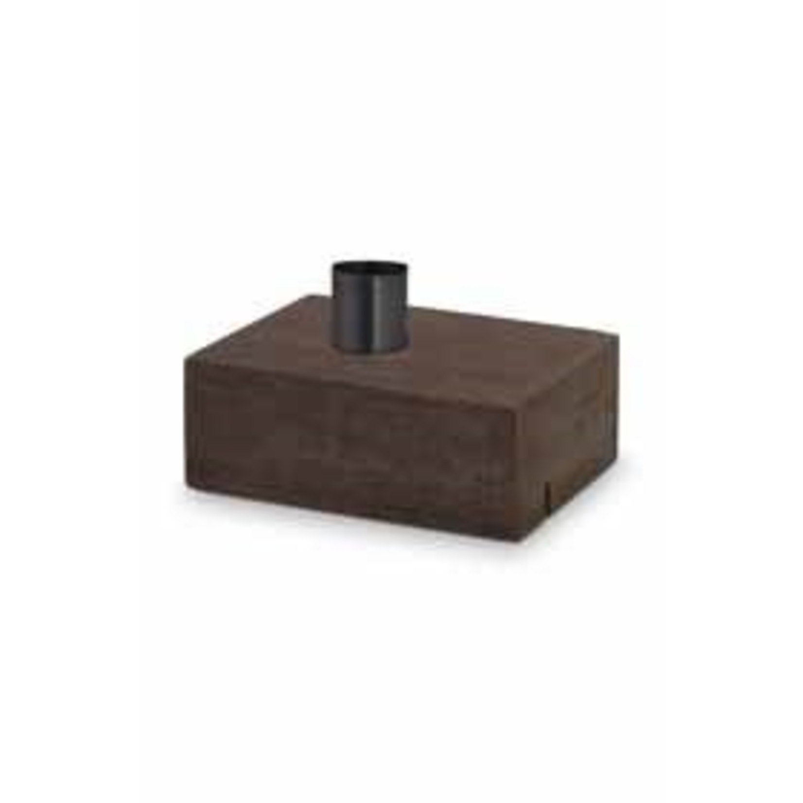 vtwonen Candle Block/Card/Twig Holder Rectangular Wood with Black Cup