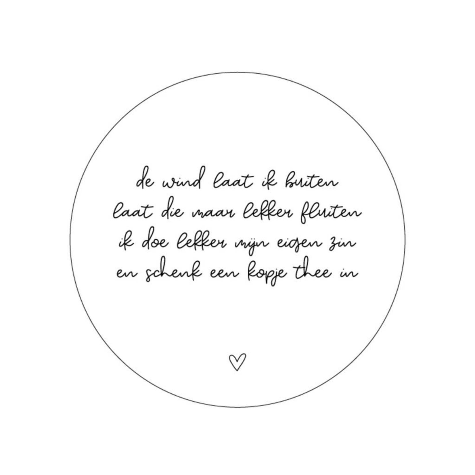 Zoedt Zoedt   Muurcirkel wit met gedicht 20 cm
