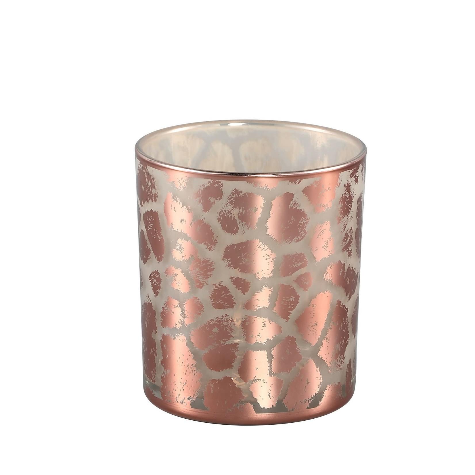 PTMD Desiree Gold glass tealight giraffe print round S