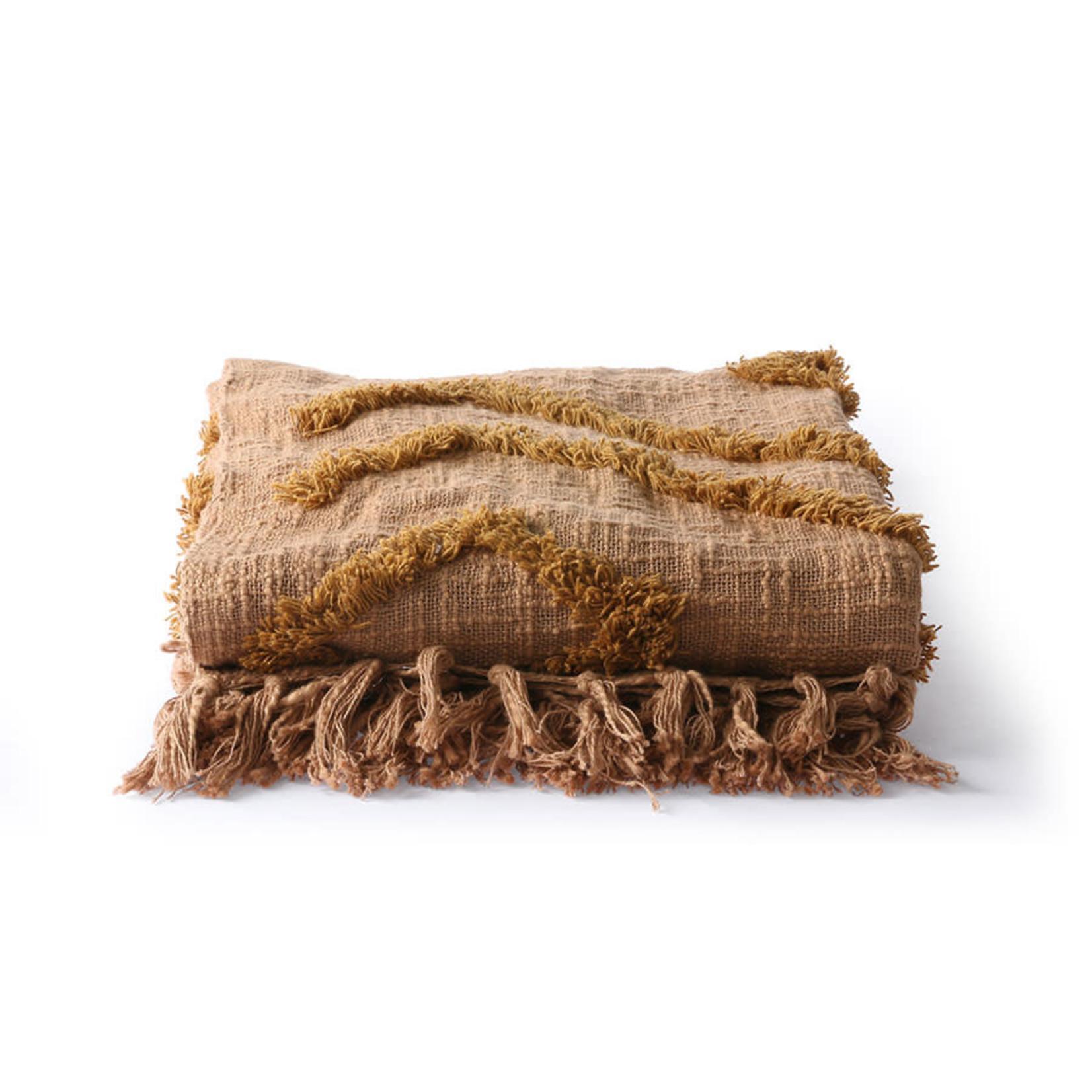 HK Living HK Living Cotton fringe throw brown