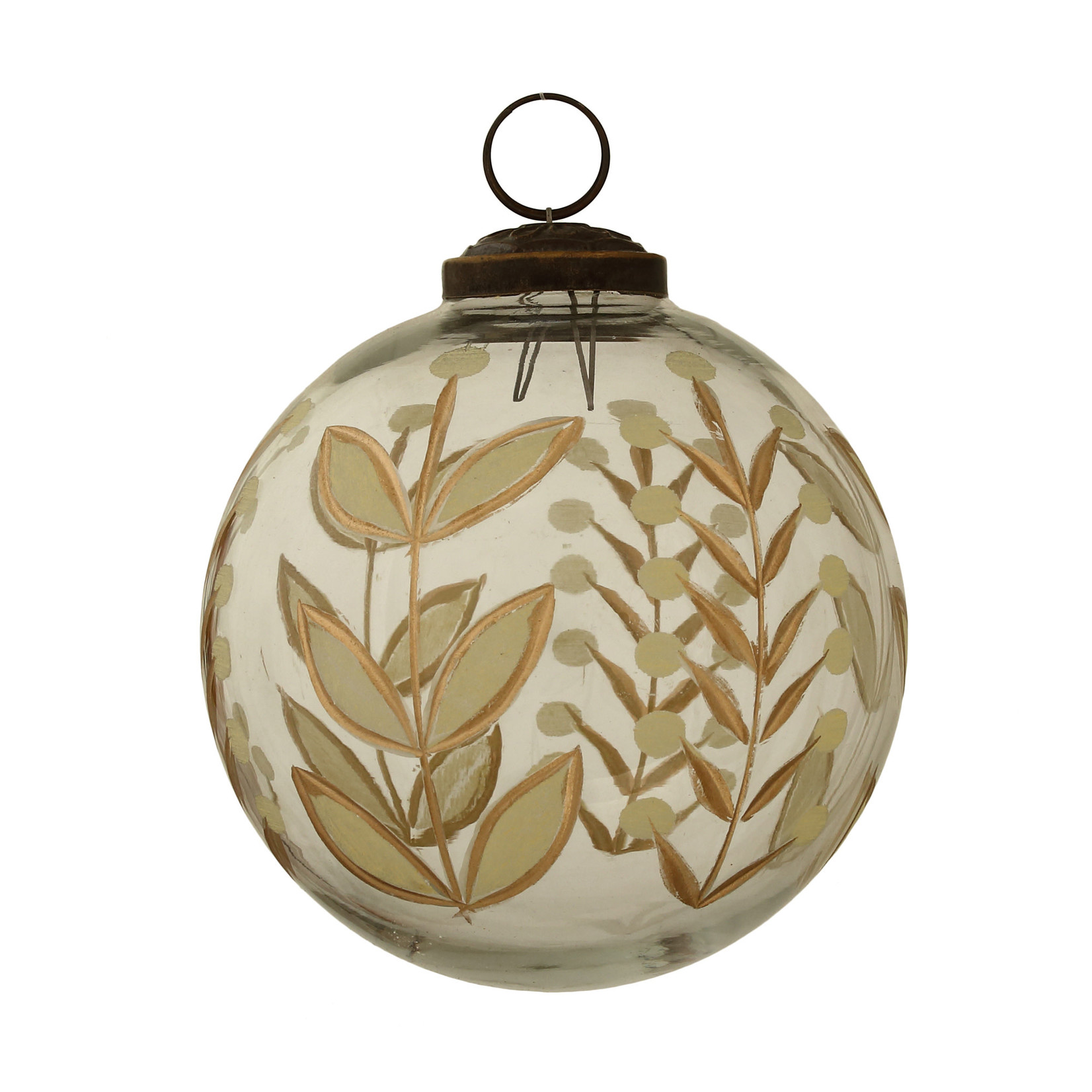 PTMD Christmas Melton clear glass ball gold print L