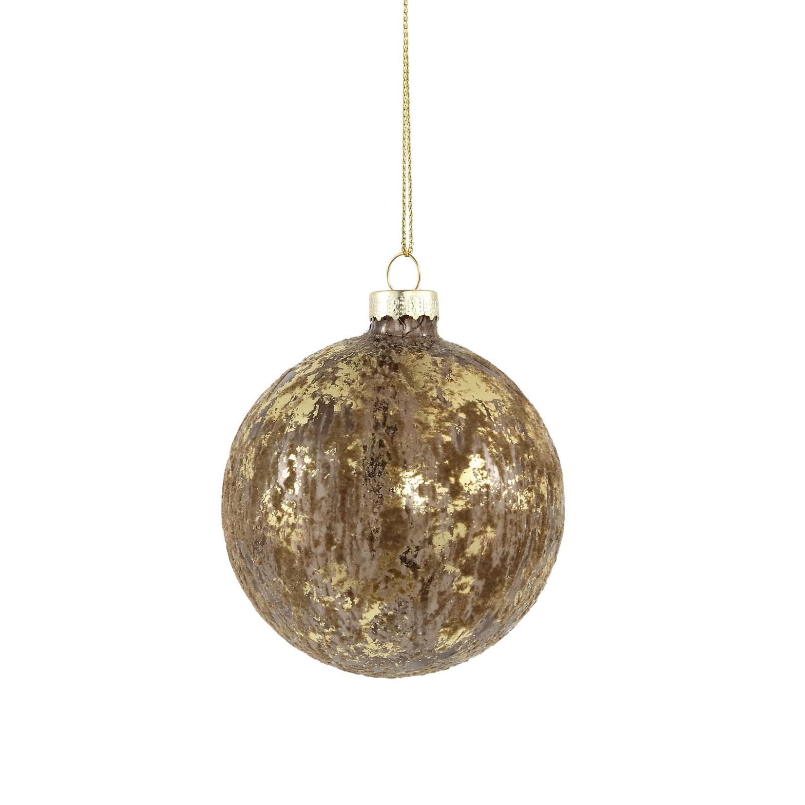 PTMD Christmas Fluflu brown glass ball glitter S