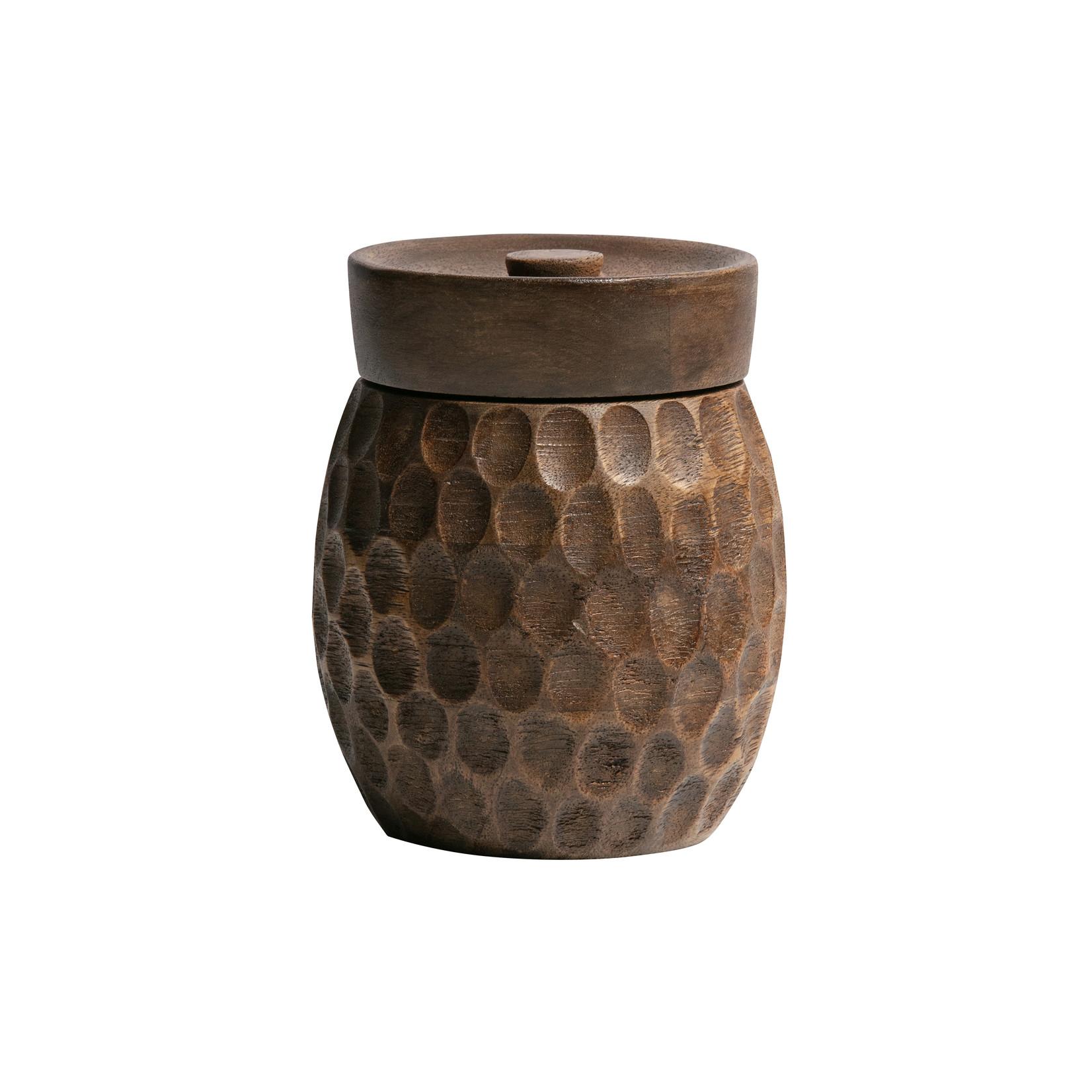 Woood Hala opbergpot hout bruin 15xØ12cm*