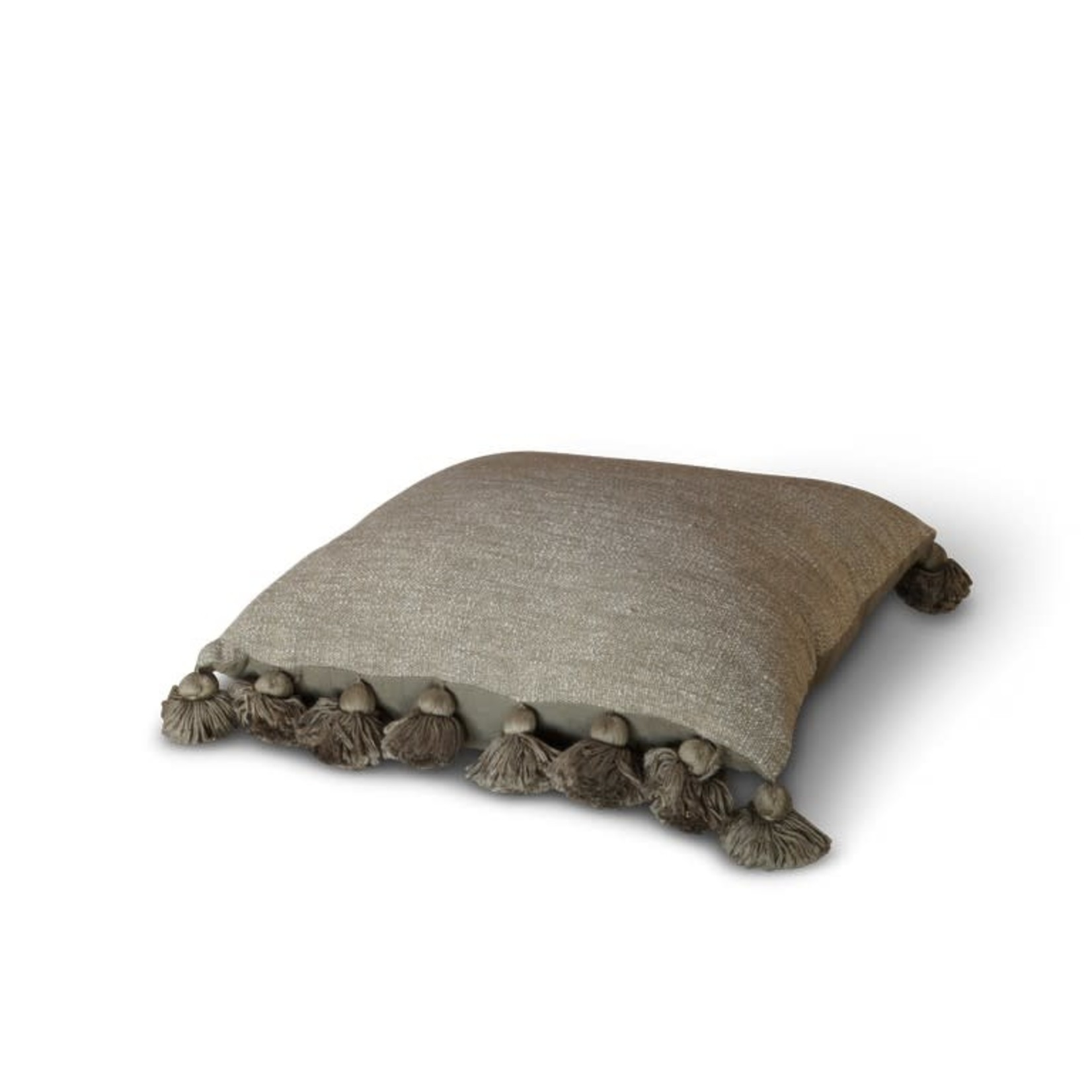 Brynxz Cushion Poly cotton with tassels Olive 50x50cm