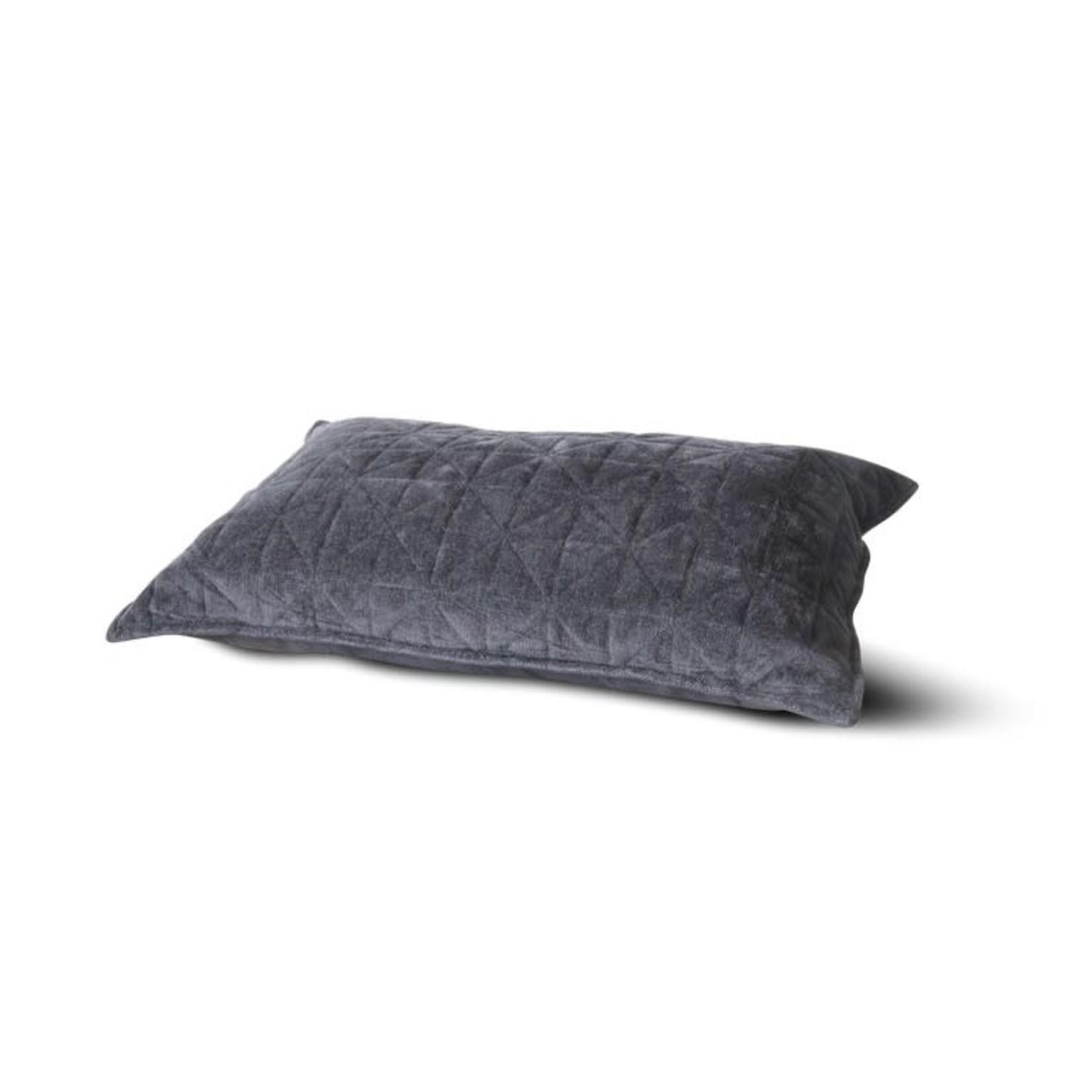 Brynxz Cushion viscose chenille quilted dark grey  40x60cm