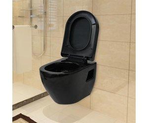Hangend Toilet Afmetingen : Hangend toilet keramiek zwart voordeelkoning goed en voordelig