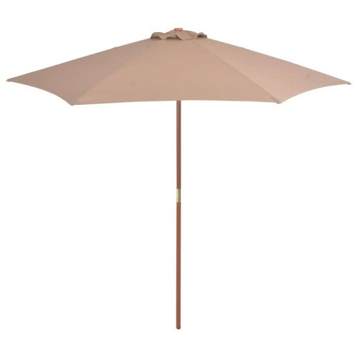 Tuinparasol met houten paal 270 cm taupe