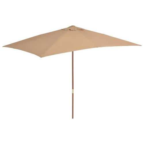 Tuinparasol met houten paal 200x300 cm taupe