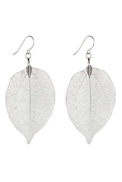 Metal Leaf oorbellen - Zilver