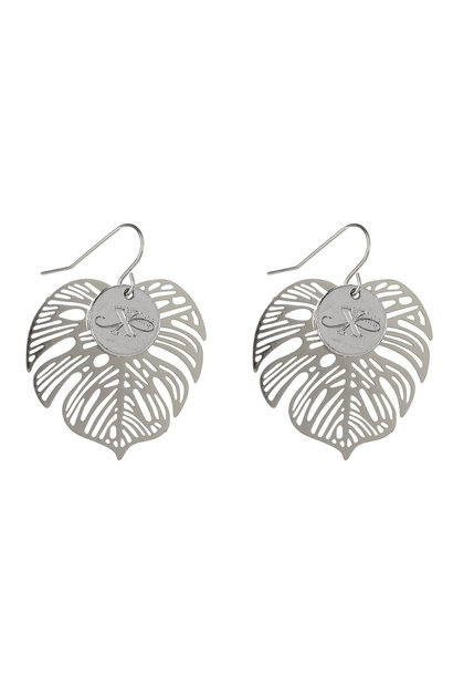 Bohemian Leaf oorbellen - zilver