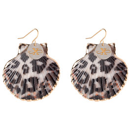 Sea Shell oorbellen - Leopard