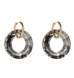 Crystal Clear oorbellen - Zwart
