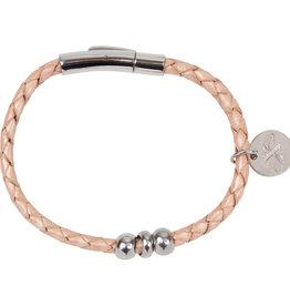 Armband Liz - Leer - Metallic Pink
