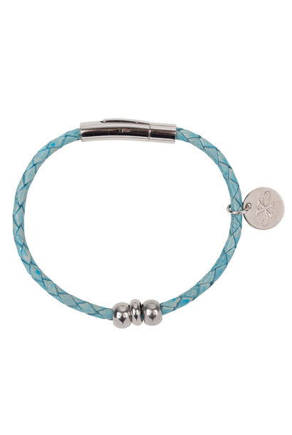 Armband Liz - Leer - Turquoise