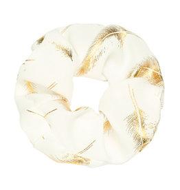 Scrunchie Golden Feather - white