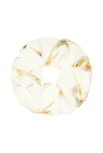 Scrunchie Golden Feather - white
