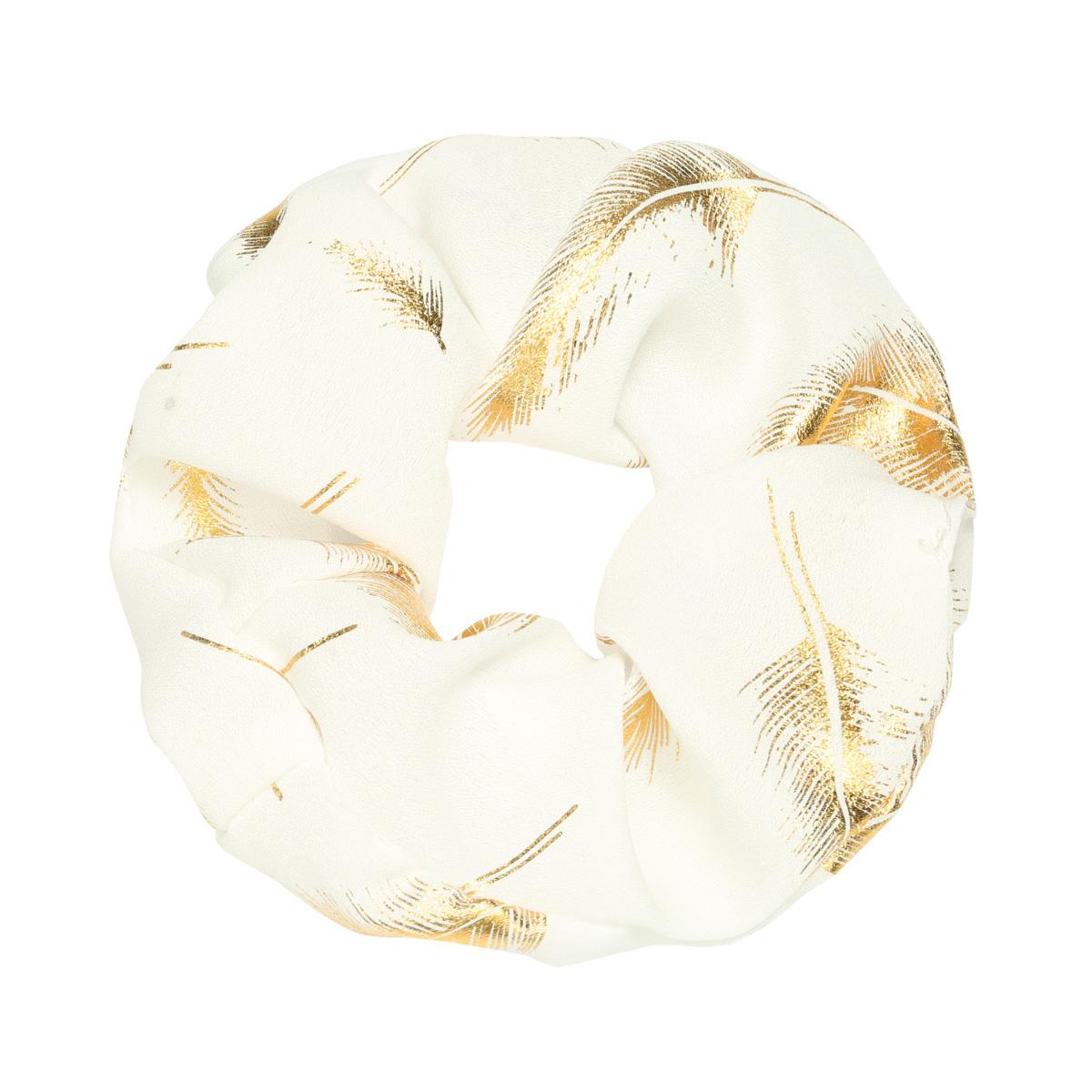Scrunchie Golden Feather - white-1
