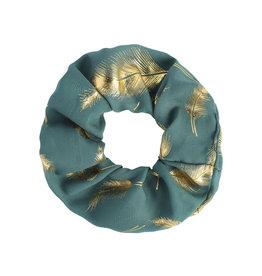 Scrunchie Golden Feather - emerald