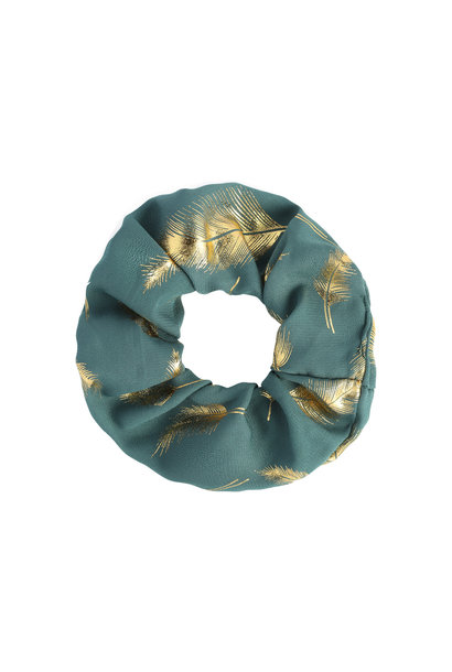 Scrunchie Golden Feather - emerald