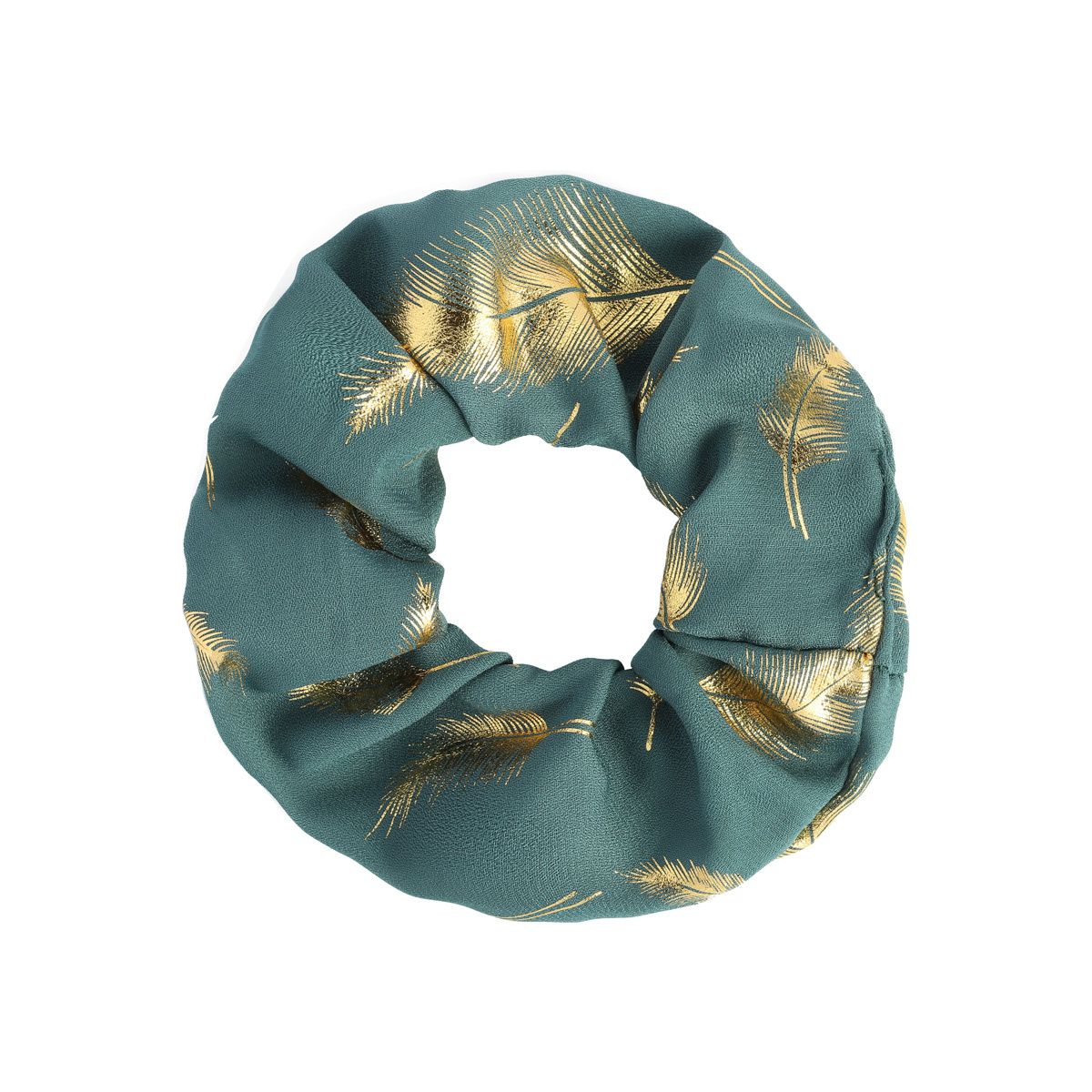 Scrunchie Golden Feather - emerald-1