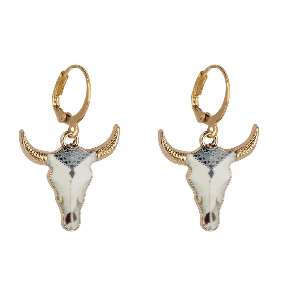 Buffelkop oorbellen - white-1